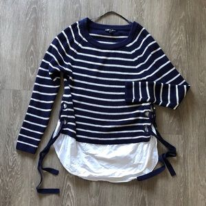cable & gauge grommet layered striped sweater